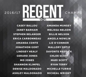 2016-2017 REGENT CHAMPIONS our very own Coach Liz O'Connor